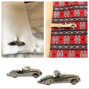 Vintage Race Car Cuff Links  and Tie Clip